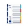 Plastikiniai spalvoti skiriamieji lapai, A4 6 dalys